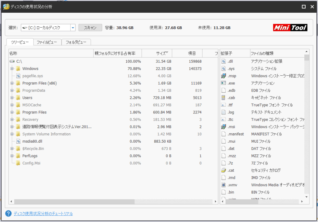 MiniTool Partition Wizardディスク使用状況